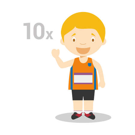Sports cartoon vector illustrations: Decathlon Illustration