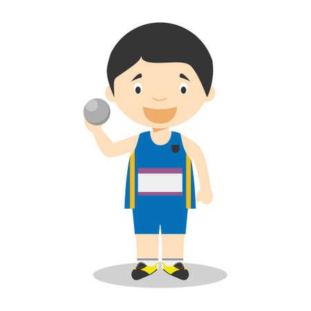Sports cartoon vector illustrations: Shot Put