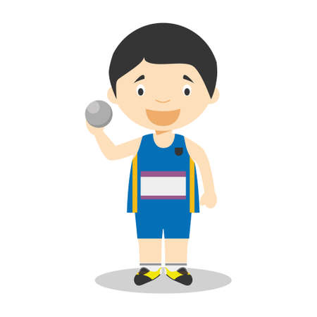 Sports cartoon vector illustrations: Shot Put Standard-Bild - 104573770