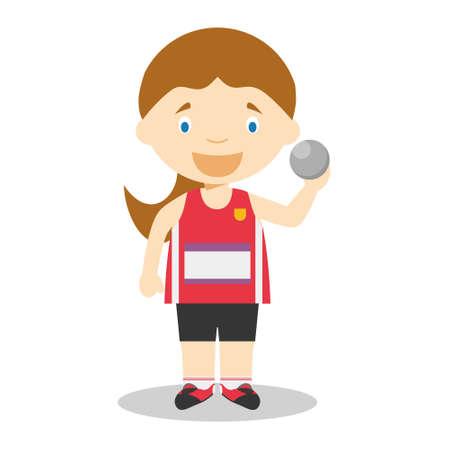 Illustrations vectorielles de dessin animé de sport: lancer du poids (femme)