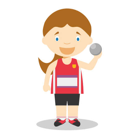 Sports cartoon vector illustrations: Shot Put (female)