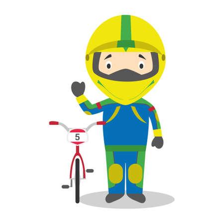 Sports cartoon vector illustrations: BMX Cycling