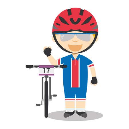 スポーツ漫画のベクトルイラスト:マウンテンバイク(MTB)