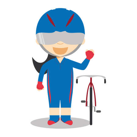 Sports cartoon vector illustrations: Track Cycling (female)  イラスト・ベクター素材