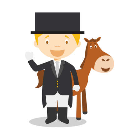 Sports cartoon vector illustrations: Equestrian Dressage Stock Illustratie