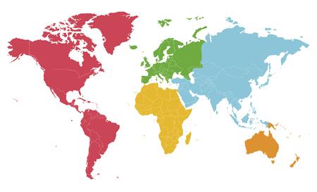 Polityczna mapa świata puste ilustracji wektorowych z różnymi kolorami dla każdego kontynentu i na białym tle. Edytowalne i wyraźnie oznaczone warstwy. Ilustracje wektorowe