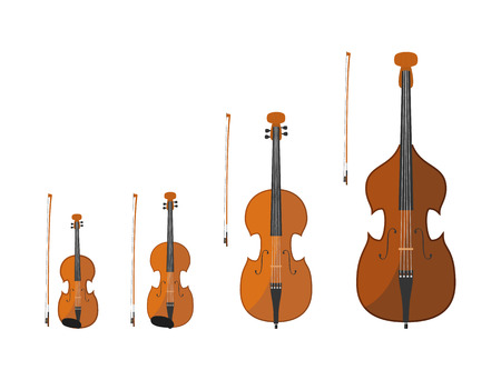 Vector illustration set of string instruments playing by bowing the strings 일러스트