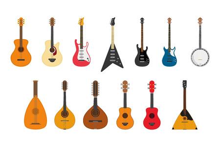 Conjunto de ilustración vectorial de instrumentos de cuerda tocando punteando las cuerdas