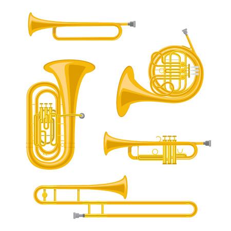 Ensemble d'illustration vectorielle d'instruments de musique en laiton en style cartoon isolé sur fond blanc Vecteurs