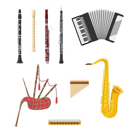 Vector illustration set of woodwind musical instruments in cartoon style isolated on white background