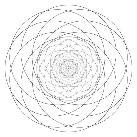 Geometrical figure. Sacred Geometry Torus Yantra or Hypnotic Eye development vector illustration Illustration