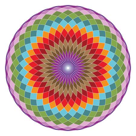 Colorful geometrical figure. Sacred Geometry Torus Yantra or Hypnotic Eye vector illustration