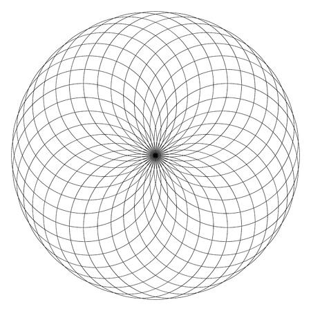 Figura geometrica in bianco e nero. Illustrazione di vettore di geometria sacra Torus Yantra o occhio ipnotico Vettoriali