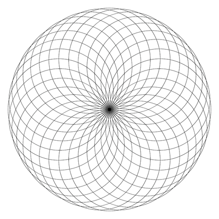 Geometrical figure on black and white. Sacred Geometry Torus Yantra or Hypnotic Eye vector illustration Illustration