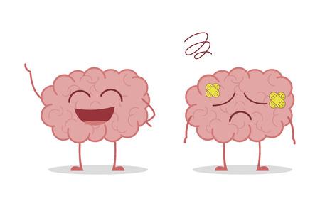 Gezonde en zieke hersenen die op witte vectorillustratie worden geïsoleerd als achtergrond