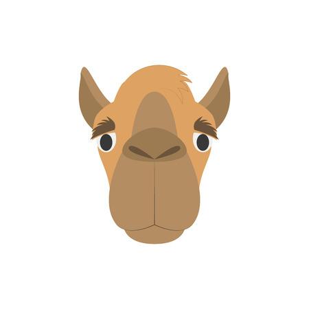 Faccia di cammello in stile cartone animato per bambini. Serie di illustrazioni vettoriali di facce di animali
