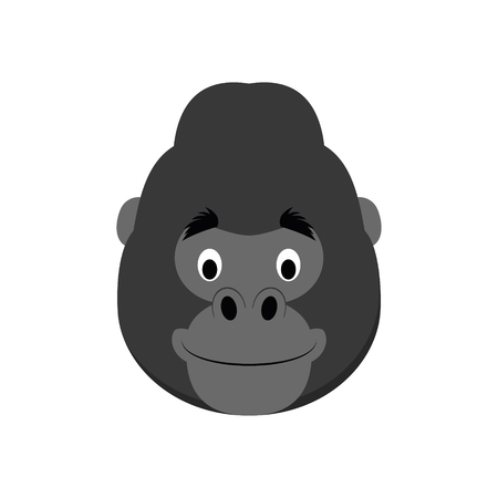 Gorilla face in cartoon style for children. Animal Faces Vector illustration Series