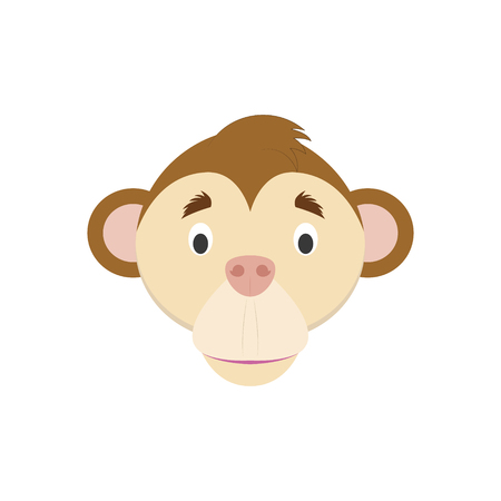Monkey face in cartoon style for children. Animal Faces Vector illustration Series Illustration