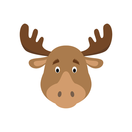 Moose face in cartoon style for children. Animal Faces Vector illustration Series Illustration