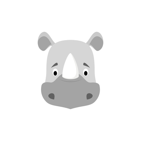 Rhino face in cartoon style for children. Animal Faces Vector illustration Series Illustration