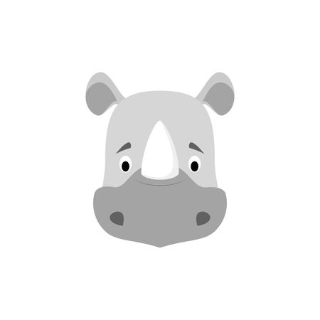 Visage de rhinocéros en style cartoon pour enfants. Série d'illustration vectorielle de visages d'animaux
