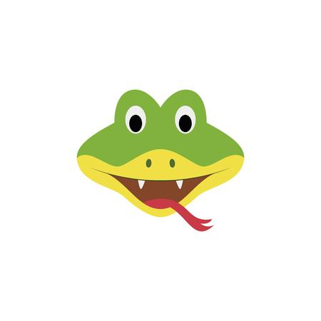 Cara de serpiente en estilo de dibujos animados para niños. Serie de ilustraciones vectoriales de caras de animales