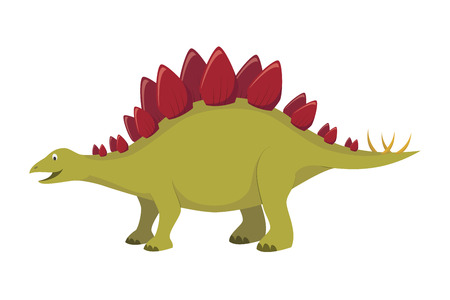 Stegosaurus vector illustration in cartoon style for kids. Dinosaurs Collection.