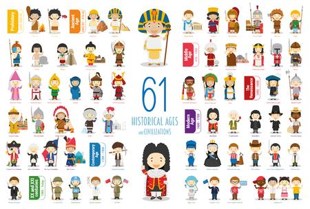Colección de personajes vectoriales para niños: conjunto de 61 edades y civilizaciones históricas en estilo de dibujos animados.
