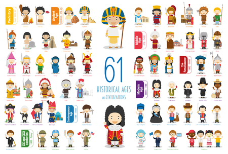 Kids Vector Characters Collection: Set of 61 Historical Ages and Civilizations in cartoon style. Imagens - 117337546