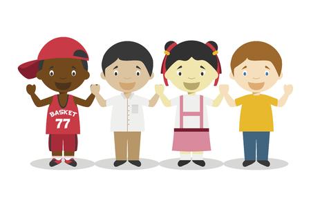 Cuatro niños de diferentes razas tomados de la mano y que representan personajes de dibujos animados de la era de la globalización. Ilustración de vector. Colección de Historia de los Niños.