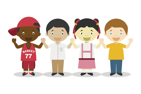 Four children of different races holding hands and representing Globalization age cartoon characters. Vector Illustration. Kids History Collection.