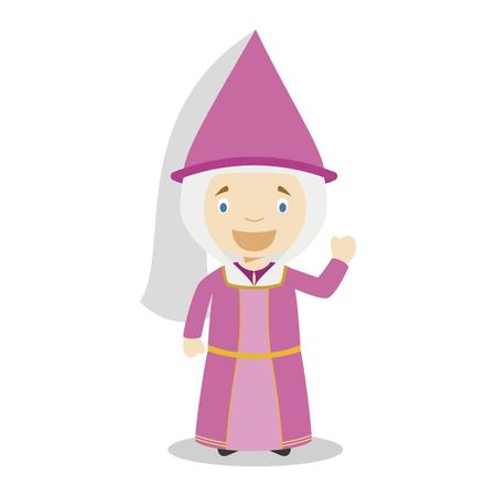 Medieval princess cartoon character. Vector Illustration. Kids History Collection.