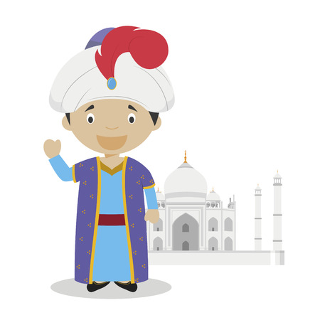 Mughal cartoon character with Taj Mahal illustration. Vector Illustration. Kids History Collection.