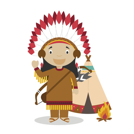 Native american cartoon character with a typical tepee. Vector Illustration. Kids History Collection. Stock Vector - 113226727