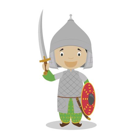 Personnage de dessin animé de soldat ottoman. Illustration vectorielle. Collection d'histoire pour enfants. Vecteurs