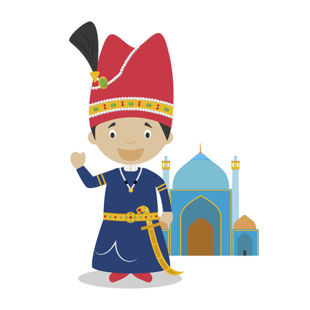 Shah empire cartoon character with Isfahan mosque. Vector Illustration. Kids History Collection.