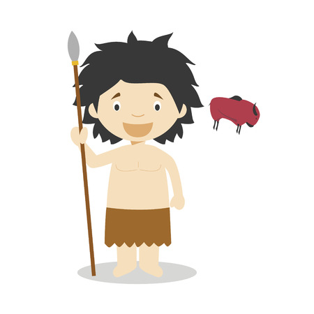 Stone Age boy cartoon character with a rock painting. Vector Illustration. Kids History Collection.