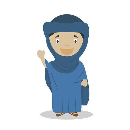 Tuareg cartoon character. Vector Illustration. Kids History Collection.
