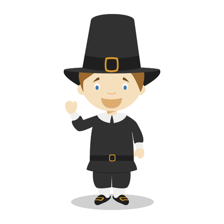 American settler cartoon character. Vector Illustration. Kids History Collection.