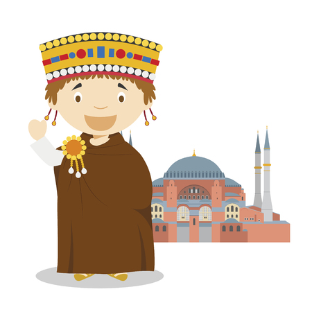 Byzantine cartoon character with Hagia Sophia. Vector Illustration. Kids History Collection.