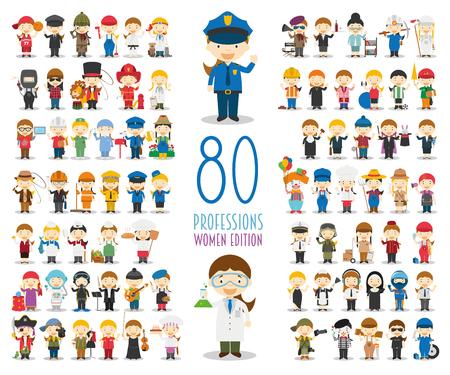 Colección de personajes vectoriales para niños: conjunto de 80 profesiones diferentes en estilo de dibujos animados. Edición Mujer. Ilustración de vector