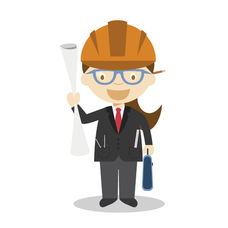 Cute cartoon vector illustration of an architect. Women Professions Series