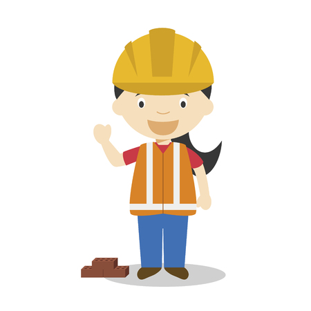 Cute cartoon vector illustration of a builder. Women Professions Series