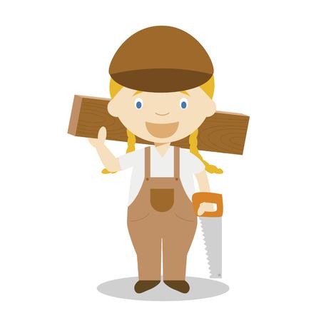 Cute cartoon vector illustration of a carpenter. Women Professions Series
