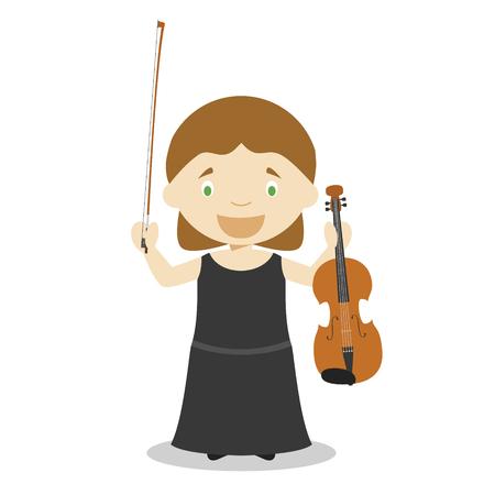 Cute cartoon vector illustration of a classic musician. Women Professions Series