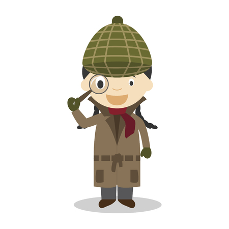 Cute cartoon vector illustration of a detective. Women Professions Series Stok Fotoğraf - 126826246
