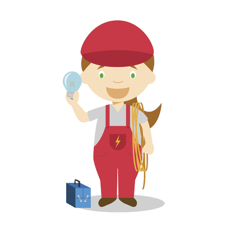 Cute cartoon vector illustration of an electrician. Women Professions Series