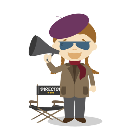 Cute cartoon vector illustration of a filmmaker. Women Professions Series