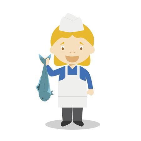 Illustration vectorielle de dessin animé mignon d'un poissonnier. Série Métiers des Femmes Vecteurs