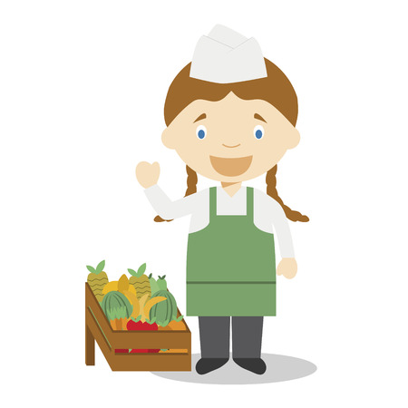 Cute cartoon vector illustration of a fruit seller. Women Professions Series Stock Illustratie